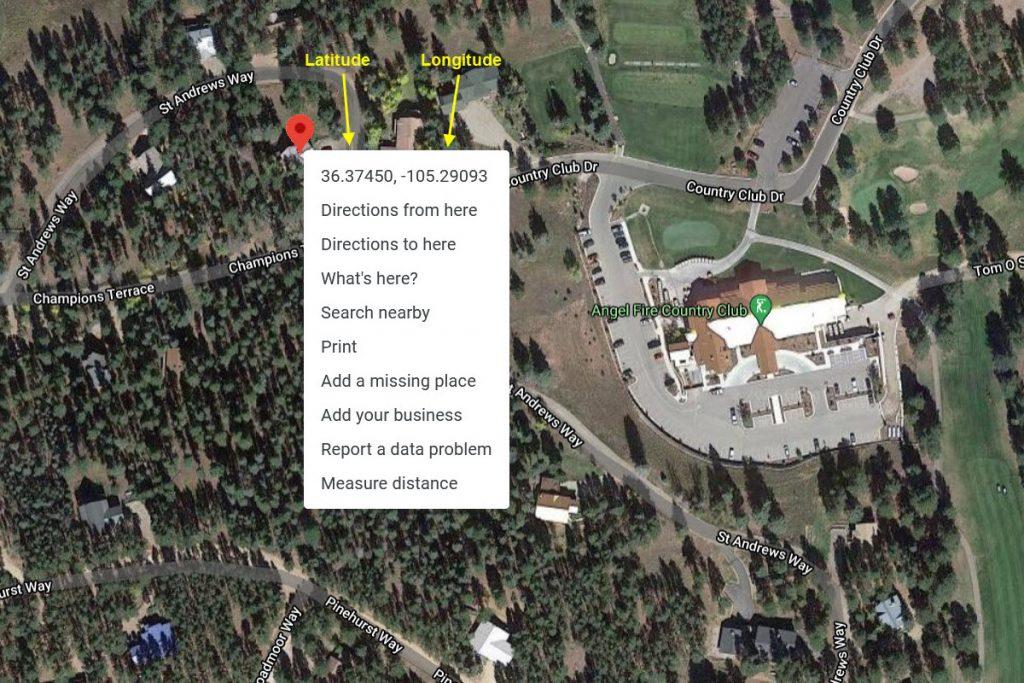 Latitude and Longitude Coordinate Map - Aerial View Example