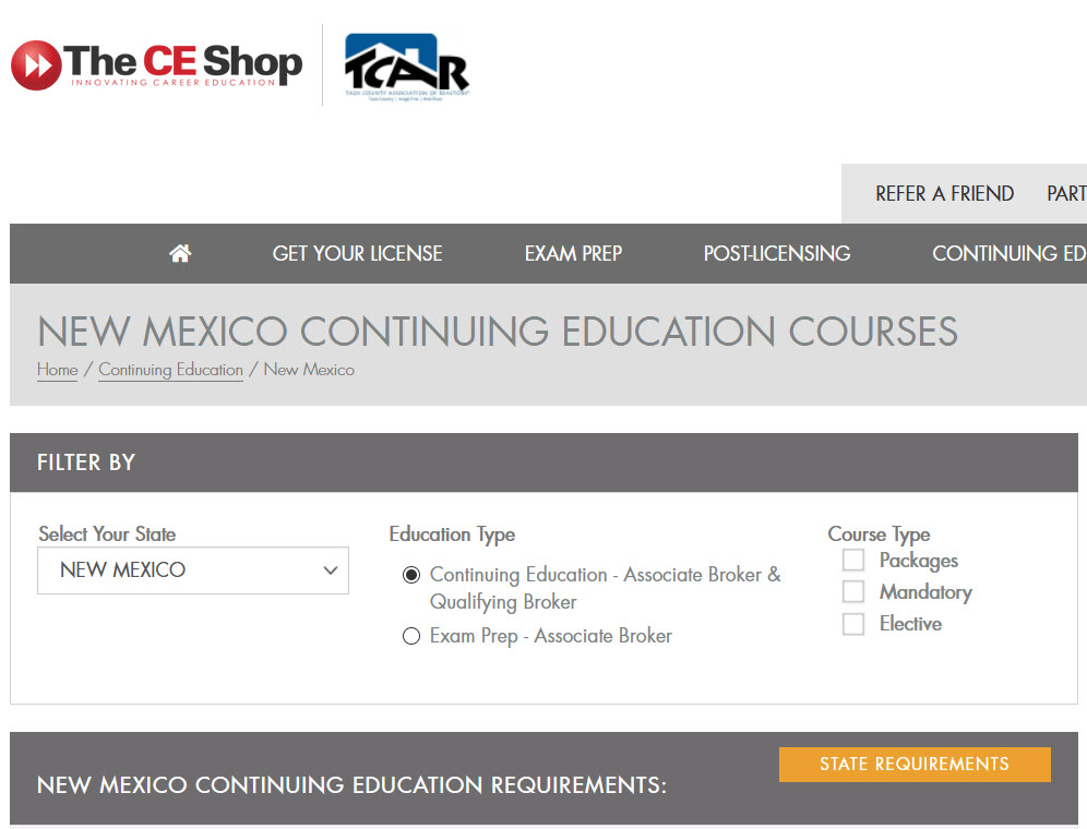 TCAR Continuing Education Partnership with The CE Shop